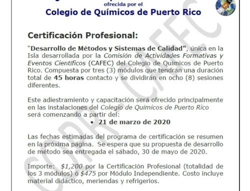 """Programa de Capacitación Profesional: """"Desarrollo de Métodos y Sistemas de Calidad"""" – 4ta Edición marzo-mayo 2020"""