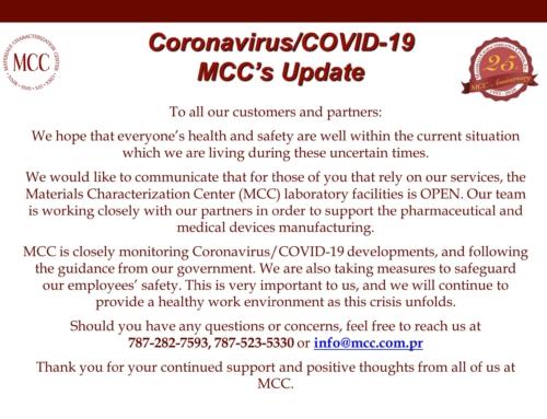 Coronavirus/COVID-19 MCC's Update